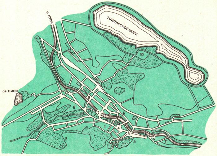 Схема зеленых массивов Тбилиси