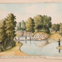 Вид на купальный пруд от плотины в Богородицком парке («Вид купальни издалека при выходе из оной через платинку»). Лист из альбома «Виды имения Бобринских Богородицк». 1786—1787 гг.