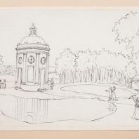 Вид на круглый павильон в Богородицком парке. Лист из альбома «Виды имения Бобринских Богородицк». 1786—1787 гг.