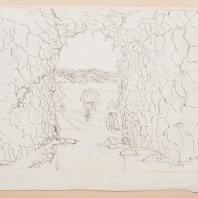 Вид из грота на Большой пруд в Богородицком парке. Лист из альбома «Виды имения Бобринских Богородицк». 1786—1787 гг.