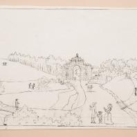 Вид на Эхоническую долину с развалиной жилища Эхи в Богородицком парке. Лист из альбома «Виды имения Бобринских Богородицк». 1786—1787 гг.