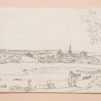 Вид на Богородицкий парк из-за Большого пруда. Лист из альбома «Виды имения Бобринских Богородицк». 1786—1787 гг.