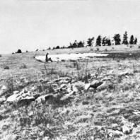 Гора Эттерсберг близ Веймара рядом с концентрационным лагерем Бухенеальд, где в 1958 г. был сооружен мемориальный ансамбль. Фотография 1952 г. В центре - одна из известковых ям - захоронений бывших узников, на месте которой  впоследствии воздвигли восточную гробницу.