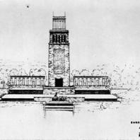 """Бухенвальд. Эскиз Башни Освобождения с колонадой. 1954 г. Автор: """"Коллектив Бухенвальд"""""""