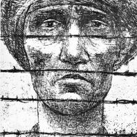 """Фриц Кремер. """"Мужчина за колючей проволокой"""". Литография из серии """"Бухенвальдские этюды"""""""