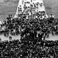 Вид с колокольни во время торжественного открытия Национального Бухенвальдского мемориала. 14 сентября 1958. Фото: Ernst Schäfer
