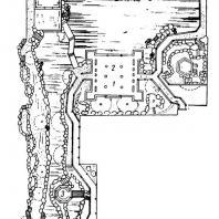 1. Часть плана парка Чжо-Чжен-юань я городе Сучжоу: 1 — павильон: 2 — «Павильон 36 птиц»; 3 — «Павильон тени башни»: 4 — »Беседка для двоих»