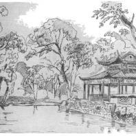 11. Павильон у воды в парке города Ханчжоу