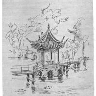 12. Беседка в центре озера парка Ши-цзы-линь в городе Сучжоу