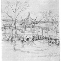 13. Павильон с галереями Ван-ши-юань в парке города Сучжоу