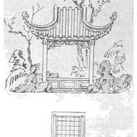 20. Четырехугольный павильон в парке города Сучжоу