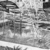 Фонтан «Группа Рыб», выполненный из нержавеющей стали. Скульптор Линдей Деккер. Детройт. США
