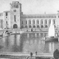 Декоративный бассейн с фонтаном. Площадь Ленина. Ереван. Общий вид