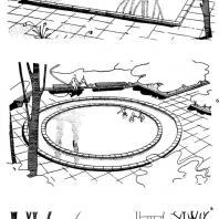 Типовые проекты детских плескательных бассейнов: а — тип 1; 6 — тип 2; в — тип 3 [САКБ 1959 г.]