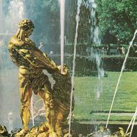 Петергоф. Самсон, разрывающий пасть льва. Золоченая бронза