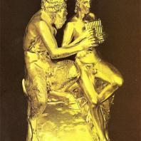 Петергоф. Большой грот. Аркада. Скульптурная группа «Пан и Олимпий». 1857. Медь, позолота. Гальванокопия с античного оригинала. Мастерская И. Гамбургера