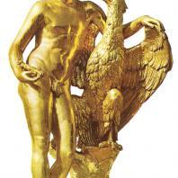 Петергоф. Большой каскад. Западная сторона. Ганимед. 1800. Золоченая бронза. Копия с античного оригинала Лeoxapa. Отливал Э. Гастклу