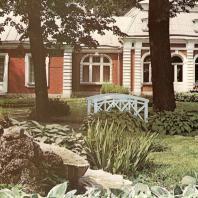 Петергоф. Банный корпус «Монплезира». Вид со стороны фасада и Китайского садика. Архитектор Э. Ган. 1866 год