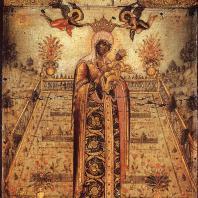 Никита Павловец. Богоматерь Ветроград заключенный Около 1670 г. Икона 33 X 29. Государственная Третьяковская галлерея