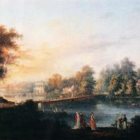 Гатчина. Вид на Неву и Строгоновскую дачу. С.Ф. Щедрин, 1804 (фрагмент)