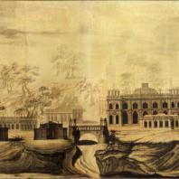 Царицыно. Панорама. Проектный чертеж В.И. Баженова (1776 г.)