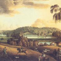 Семеновское-Отрада. Вид от церкви на дом, р. Лопасню и парк. Неизвестный художник первой половины XIX в.