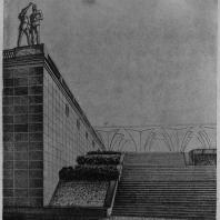 Ленинград. Проект стадиона на б. Крестовском острове. Фрагмент (проф. А.С. Никольский)