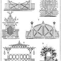 Лист 8. Мотивы ворот и калиток. «Мотивы садовой архитектуры», Стори В.Г., С.-Петербург, 1911