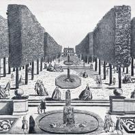 Старинные гравюры — один из источников, свидетельствующих о прошлом садов и парков. Вид усадьбы в окрестностях Москвы (середина XVIII в.)