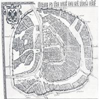 Сады и открытые пространства на «Петровом чертеже» Москвы (составлен в 1600—1605 гг.): 1 — Аптекарский сад; 2 — Царицын сад; 3 — луга в Заяузе; 4 — усадебные сады