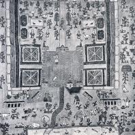Ковер с изображением усадьбы (шитье бисером)