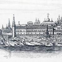 Верхний набережный сад Кремля. Гравюра П. Пикарта по рисунку И. Бликлянда 1707—1708 ГГ.