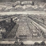 Летний сад в 1717 г. Гравюра А. Зубова