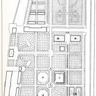 Дальнейшее развитие ансамбля Летнего сада в годы царствования Петра I: 1 — вновь построенный дворец на берегу Невы; 2— грот на Фонтанке; 3 — большой лабиринт на темы эзоповских притчей