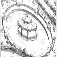 Боскет-птичник Летнего сада на «перспективном» плане Петербурга, составленном Сент Илером в 1764—1773 гг.