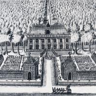 Усадьба Екатериненгоф заложенная в память победы над шведами в морском сражении в мае 1706 г. Гравюра А. Зубова, 1717 г