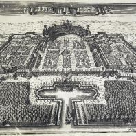 Ораниенбаум. Идея композиции — выход к морским просторам. Гравюра Растовцева, 1717 г.