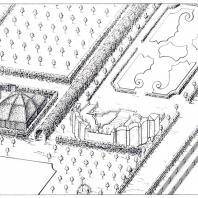 Фрагмент Летнего сада с цветочным партером и амфитеатром. Архитектор В.В. Растрелли