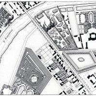 Часть плана Петербурга елизаветинского времени, на котором видна планировка усадеб у р. Фонтанки