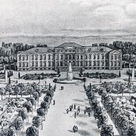 Панорама центральной части дворцово-паркового комплекса в Рундале