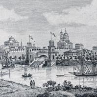 Вид села Грузино. Гравюра В. Цехомского по старинной литографии
