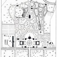 Валуево. Пример сочетания приемов регулярной (у дома) и пейзажной планировок парка. Современный обмер: 1 — главный дом с флигелями, 2 — дом управляющего, 3 — контора, 4 — конный двор, 5 — скотный двор, 6 — оранжерея, 7 — водонапорная башня, 8 — церковь, 9 — дома церковного причта, 10 — охотничий домик, 11 и 12 — гроты, 13 — баня и прачечная, 14 — водокачка, 15 — дом садовника, 16 — сарай, 17 — теплица