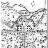 Середниково — типичная русская усадьба периода раннего классицизма (схематический план). Современный обмер: 1 — главный дом с флигелями, 2 — скотный двор, 3 — конный двор, 4 — мост