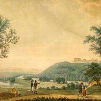 Иосиф Моссмер. Вид села Надеждина с восточной стороны. Иллюминированная гравюра