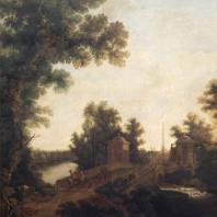 Гатчина. Вид на каменный мост. Гравюра С. Щедрина