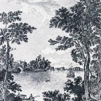 Гатчина. Большой дворец и озеро в парке. Гравюра Галактионова с рисунка С. Щедрина