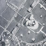 Совмещение регулярного и пейзажного стилей в планировке усадьбы Никольское-Гагарино. Аксонометрический рисунок П. Максимова