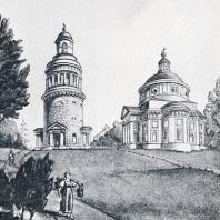 Вид усадьбы Никольское-Гагарино. Рисунок П. Максимова