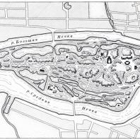 План ансамбля Елагина острова (1818—1822 гг.)