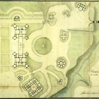 План центральной части ансамбля Царицыно. Чертеж М. Ф. Казакова: 1 — дворец, 2 — галерея и ворота, 3 — хлебный двор, 4 — церковь, 5 — кавалерские корпуса, 6 — Оперный дом, 7 — фигурный мост, 8 — мост через овраг